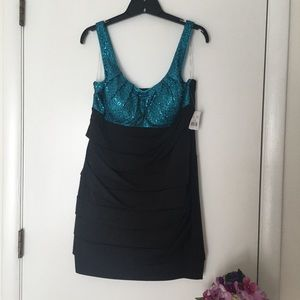 Black and Turquoise casual Dress, size XL